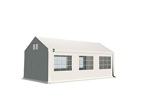 KC Partyzelt 3x6 m Pavillon Zelt 500g/m² - PVC Plane - Gartenzelt Festzelt Bierzelt - Rahmen aus Stahl - Inkl. Seitenwände & Giebelwände - Weiß