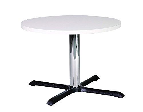 Netfurniture Roza ronde kwaliteit gietijzeren salontafel met chroom kolom 80cm Kleur: wit