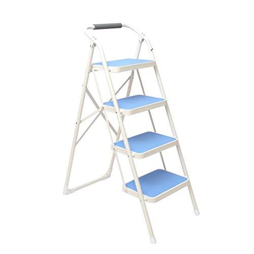 MMMP Folding Extension Ladder - Blu Casa Antiscivolo Scala Pieghevole Passo Sedie Sgabello for Adulti Sedie Pieghevoli Portatile Poggiapiedi Scaletta Magazzinaggio Fiore Rack (Colore: 4 Livelli)
