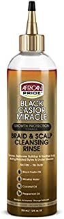 African Pride Black Castor Miracle Braid & Scalp Cleansing Rinse - Removes Build Up & Soothes Scalp, No Frizz, Contains Black Castor Oil, Micellar Water, Coconut Oil, Peppermint Oil, 12 oz