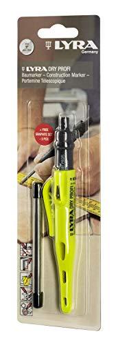Lyra L4498104 LYRA DRY PROFI Marqueur de construction avec taille-crayon et clip Mine universelle en graphite 2B 2,8 mm pour toutes les surfaces sous blister + 3 recharges universelles graphite