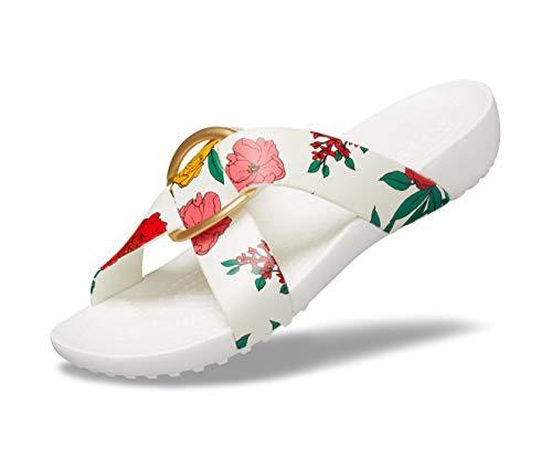 Crocs Women's Serena Printed Cross Band Slide Casual Lightweight Sandal, Floral/White, 9 M US
