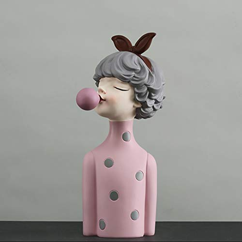 NYKK Art Decorative Statue Blowing Bubbles Girl Home Decoration Ornaments Art Statue  Living Room Furnishings Newlyweds To Give Women Birthday Gifts Home Décor Products (Color : Pink)