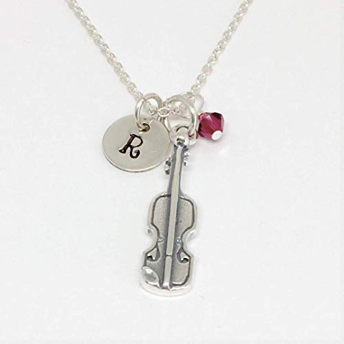 Violin Necklace Sterling Silver Hand Stamped with Swarovski Crystal or Pearl/Musical Lover Violinist