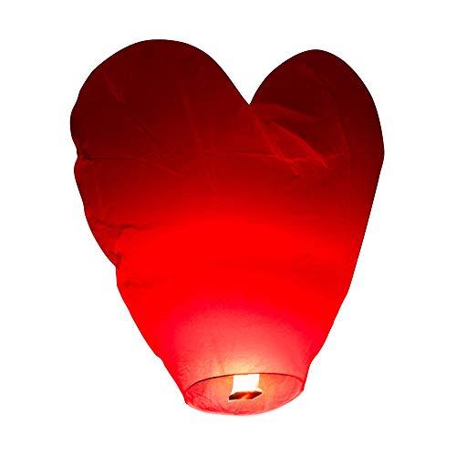 SKYLANTERN Lanterne Volante en Forme de Coeur 60 x 120 cm - Lanterne Chinoise Volante Rouge - Lanterne Papier idéal pour soirée Romantique, St Valentin et Mariage en extérieur