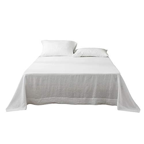 DAPU Pure Stone Washed Linen Flat Sheet 100% French Natural Flax (Off White, Queen)