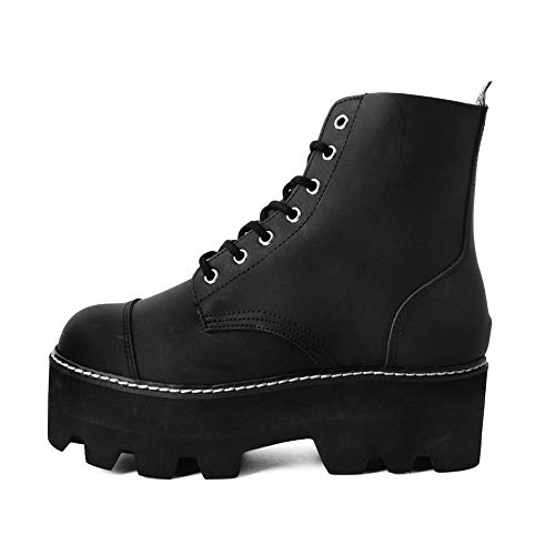 T.U.K. Shoes Herren Damen Schwarz Kunstleder 7-Augen Dino Lug Sohle Stiefel 39 EU