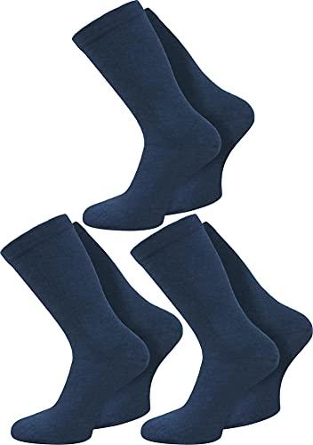normani 3 Paar spezielle Komfort-Socken ohne Gummi für Diabetiker oder Problemfüße (z.B. Wasserbeine/Elefantenfüße) Farbe Marine Größe 43-46