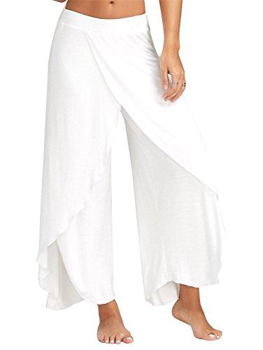 Hosen Damen Sporthose Yogahosen Sport Pumphose Haremshose Leichte Sommerhose Marlene Hose Weiß XL