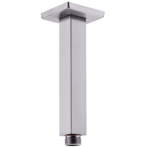 Square Ceiling Mounted Shower Arm with Flange Stainless Steel 6 Inches Rainfall Shower Head Extension, Brushed Nickel