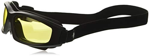 """Yellow Motorcycle Riding Goggles: Night Vision Nighttime Riding Goggles""""No Foam"""" Design w/Hard Case, Microfiber Cleaning Cloth & Pouch Included (Yellow Lens)"""