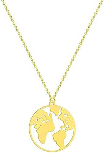 Aluyouqi Co.,ltd Halskette Runde Weltkarte Globe Anhänger Halskette Frauen Edelstahl Reisen Schmuck Liebhaber Geschenk Geburtstag Geometrischer Charme