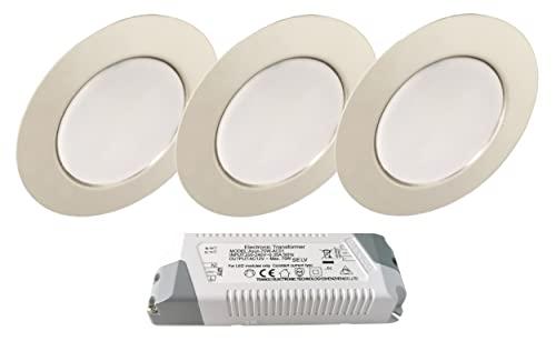 Trango Set di 3 Faretto da incasso a LED 12V AC/DC incl.1 trasformatore LED (12 volt - 2000mAh), apparecchio da incasso per armadio, lampada da soffitto TGG4E-038T in cromo, per cambio G4 alogeno