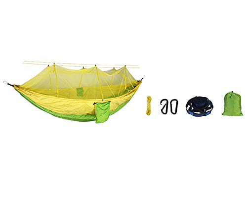 Hängematte Outdoor mit Moskitonetz,Ultraleichte Traggurt und Karabinerhaken aus Atmungsaktiv Fallschirm-Nylon Tragfähigkeit bis 300 KG,für Outdoor, Camping, Wandern, Reisen Fruchtgrün 260*140cm