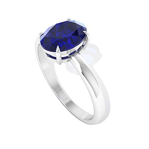 Anillo de compromiso solitario de 1,55 quilates con forma ovalada de zafiro azul, piedra de nacimiento de septiembre, anillos de declaración de aniversario, para mujer, piedra azul