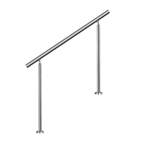 SAILUN® Edelstahl Handlauf Geländer mit 2 Pfosten für Brüstung Treppen Balkon (180 cm, ohne Querstreben)