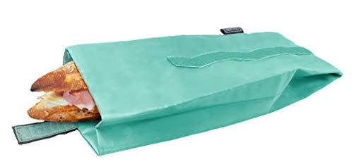 NERTHUS Bolsa para Bocadillo Reutilizable Turquesa, ecológica, Adaptable, facil de Limpiar y Apta para Lavadora, 10,5x10,5x30 cm