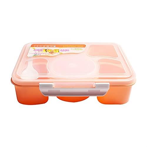 Caja de almuerzo de microondas portátiles 5 compartimentos con tazón de sopa BENTO Cajas de bento Contenedor de alimentos a prueba de fugas con cuchara ( Color : Orange , Number of Compartments : 5 )