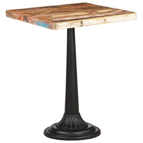 vidaXL Bistro Table Kitchen Furniture Dining Room Dinner Side Desk Wooden Pub Bar Cafe Counter Height Table 60x60 cm Solid Reclaimed Wood