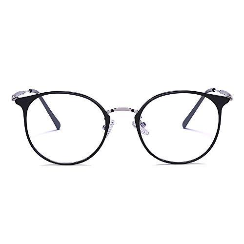 2020 VentiVenti Blue Light Blocking Cat Eye Lightweight Metal Frame Glasses for Women Eyeglasses Anti Blue Ray Computer Game Glasses Black Silver
