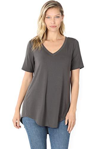 Zenana Luxe Rayon Short Sleeve V-Neck HI-Low Hem TOP Ash Grey XL
