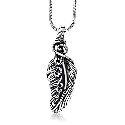 MINGDIAN Colgante de Acero de Titanio con alas de Plumas de Moda Personalizado, Colgante de Collar para niños y niñas de Rock