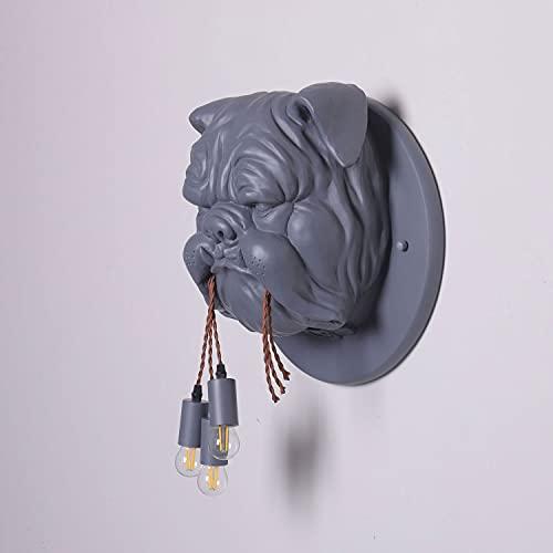 Modern Loft Wall Lamp Bulldog Forma Resina Sconce, Personality Animale Parete Light Creative Indoor Illuminazione, E27 Home Decor Applibi per Soggiorno per Soggiorno Cafe Bar Ristorante