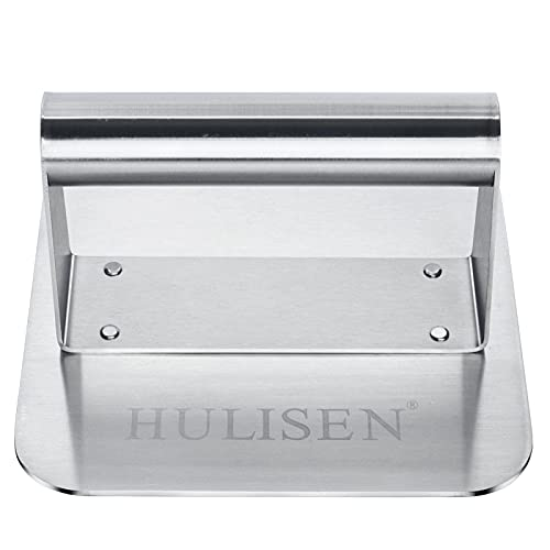 HULISEN Burger Press, Stainless Steel Hamburger Press, Non-Stick Burger Smasher Grill Press, Square Bacon Press Perfect for Flat Top Griddle Grill Cooking, Professional Griddle Accessories Kit