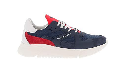 Harmont & Blaine Sneakers Blu in Pelle E Tessuto con Inserti in Contrasto - 45