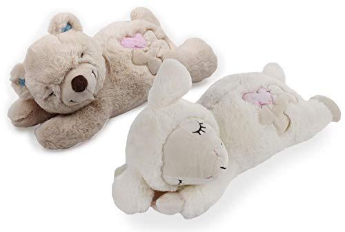 PETGARD 2er Set Welpenspielzeug Hundespielzeug Schaf mit Herzschlag + Bär zum Erwärmen