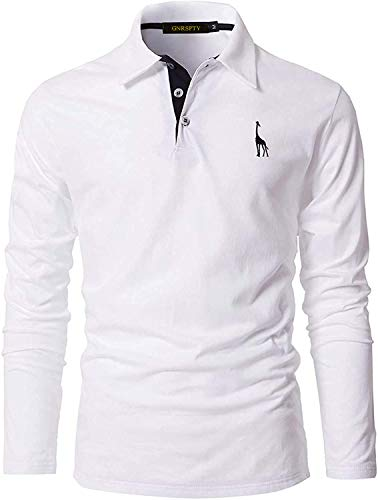 GNRSPTY Polo Manga Larga Hombre Algodon Slim Fit Camiseta Colores de Contraste Bordado de Ciervo Deporte Basic Golf Negocios T-Shirt Top,Blanco,XL