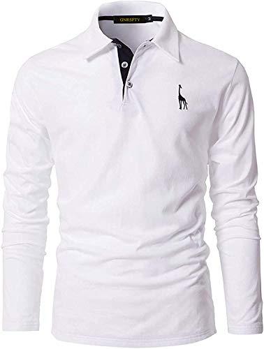 GNRSPTY Polo Manga Larga Hombre Algodon Slim Fit Camiseta Colores de Contraste Bordado de Ciervo Deporte Basic Golf Negocios T-Shirt Top,Blanco,M