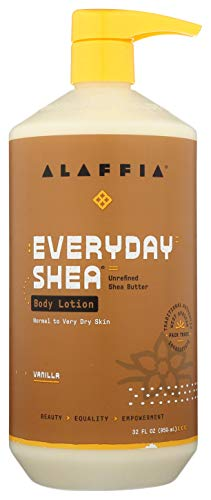 Alaffia EveryDay Shea Body Lotion - Normal to Very Dry Skin, Moisturizing Support for Hydrated, Soft, and Supple Skin with Shea Butter and Lemongrass, Fair Trade, Vanilla, 32 Ounces