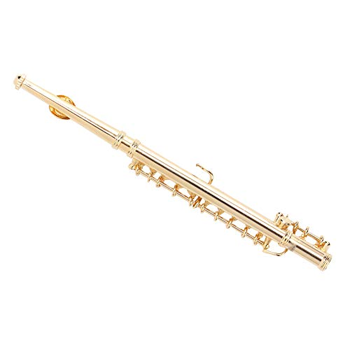 HEEPDD Miniaturflöte, Miniaturpuppenhaus Modell Modell Musikgeschenke Wohnkultur Ornamente 11cm Mini Gold Flöte mit Ständer und Gehäuse Kupfer Mini Musikinstrument