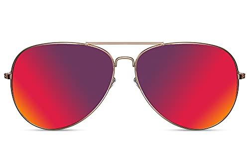 Cheapass Gafas de Sol Gafas Piloto Doradas Metálicas Cristales Morados Espejados Hombre Mujer 100% Protección UV400