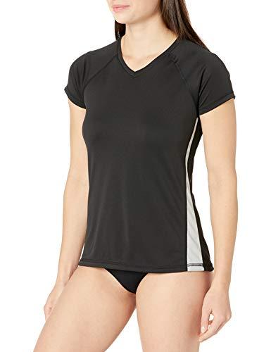 Kanu Surf Women's Standard UPF 50+ Short Sleeved Active Swim Shirt Rashguard & Workout Top, Black/Grey, Large