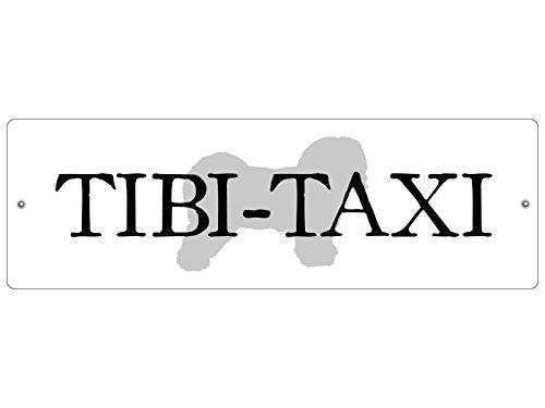 Interluxe KUNSTSTOFFSCHILD Autoschild Saugnäpfe Tibi Taxi *Weiss* Tibet Terrier Autodeko