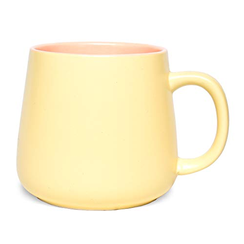Bosmarlin Matte Ceramic Coffee Cute Mug Tea Cup for Office and Home 15 oz Dishwasher and Microwave Safe 1 Pack Yellow