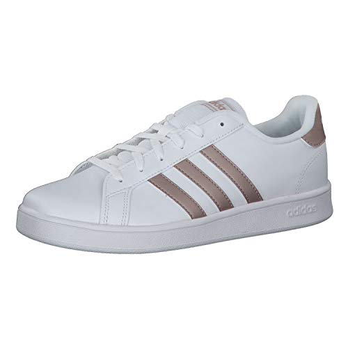 adidas Grand Court K, Chaussures de Tennis Mixte Adulte, Multicolore (Ftwwht/Coppmt/Glopnk 000), 39 1/3 EU