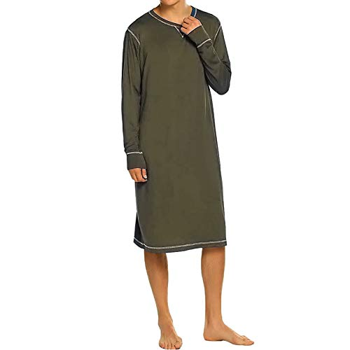 HKVML Homewear Männer Roben Langarm O-Ausschnitt Weiche Feste Freizeit Nachthemd Nachtwäsche Gemütliche Männer Bademantel Bademäntel, Army Green, 5XL