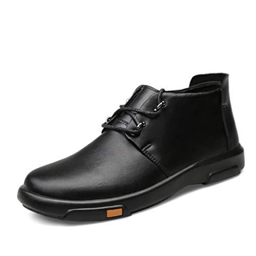 Zapatos de Cuero para Hombre Botines Bajos de Piel Completa Botines con Punta Redonda Otoño Invierno con Cordones Botas de Oficina Casual de Cuero Plano de Felpa cálida