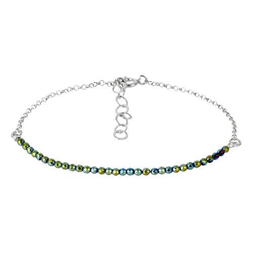 Córdoba Jewels   Pulsera en Plata de Ley 925 con Piedra semipreciosa diseño Jade Silver