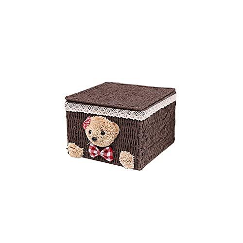 HEIYANQUANzwj Cestas Almacenaje Decorativas, Caja de almacenamiento de ratán, Tela de oso creativo, trenza de paja con tapa, lindo, canasta de almacenamiento femenino, cosméticos, sundries, cesta de a