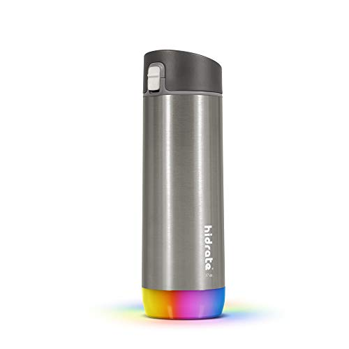 HidrateSpark STEEL Smart Water Bottle, Tracks Water Intake & Glows to Remind You to Stay Hydrated, Chug, 17oz, Brushed Stainless Steel