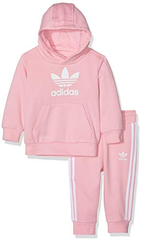 adidas Trefoil Hoodie Sweat-Shirt Enfant Top: Light Pink/White Bottom: Light Pink/White FR: XL (Taille Fabricant: 1218)