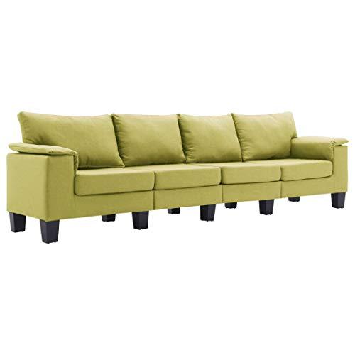 vidaXL Sofá de 4 Plazas Asiento de Sillón Salón Descanso Relajante de Suave Muebles de Hogar Oficina Estable y Duradero Tela Verde