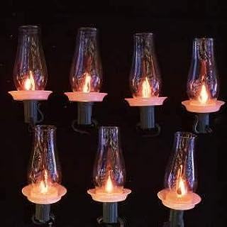 Kurt S. Adler 7 C7 Flicker Flame Hurricane Lamp Set Novelty Lights, Multi