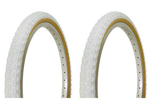 Lowrider Tire Set. 2 Tires. Two Tires Duro 20' x 1.75' White/Gum Side Wall Bike Tires, Bike Tires, Bicycle Tires, BMX Bike Tires, Chopper Bike Tires
