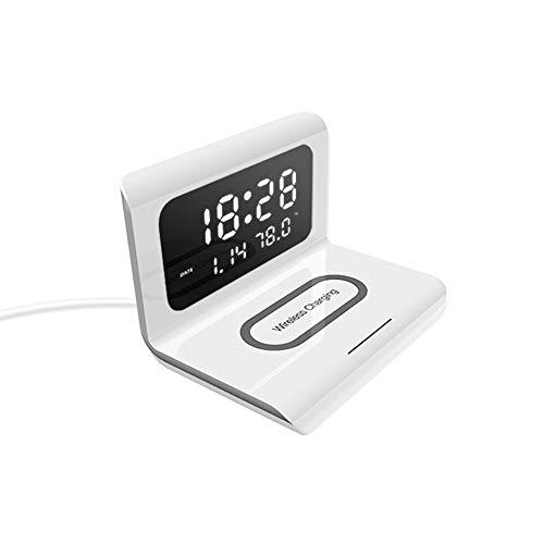 KiMiLIKE Reloj despertador de carga rápida, cargador inalámbrico y luz nocturna creativa, cargador inalámbrico digital, fácil de leer, cargador para mesita de noche