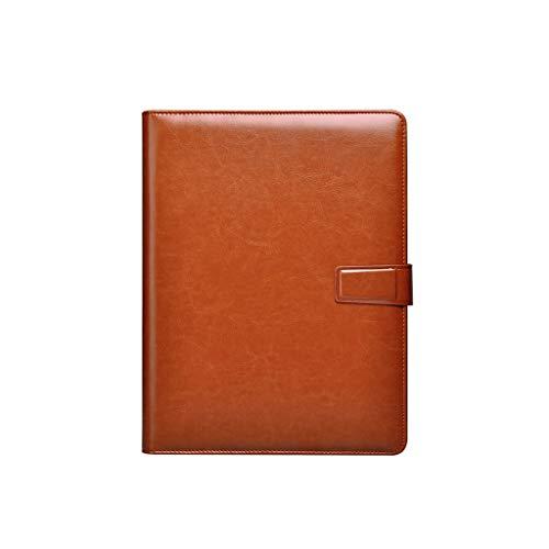 ZRL Hermoso cuaderno de 6 anillas A4 de cuero rellenable, hojas sueltas, bloc de notas de negocios con forro clásico, soporte duradero (color marrón